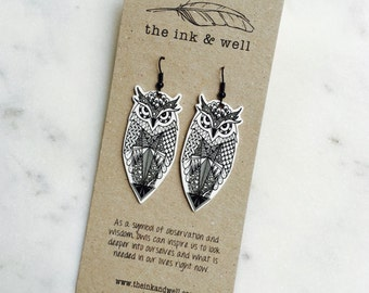 Zentangle Owl / Wearable Art Earrings / Black & White Illustration / Shrink Plastic