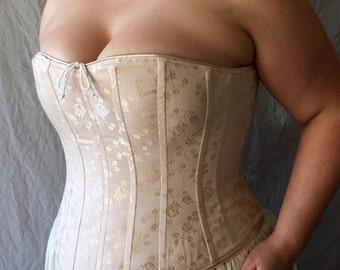 Victorian Bridal Boudoir Corset Plus Size Pastel Brocade,Custom Size,Curvy Hourglass,Full figured Wedding Night,Underwear Shaping, fitting