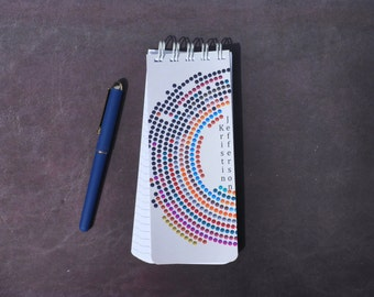 Set of 3 Spiral Bound, To-Do Lists, Personalized Note Pad, Retro Design, Lined Paper, Grocery List, Birthday Gift, Polka Dots,  Custom Pad