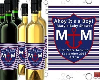 Baby Shower Wine Labels, Nautical Wine Labels, Custom Nautical Baby Shower, Anchors It's a Boy!, Boy Baby Shower Label,  Nautical Shower