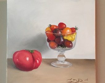 Tomato Painting Original Still Life Original Painting Kitchen Art Kitchen Decor Wall art Food art Tomato Art Colorful Painting Red Painting