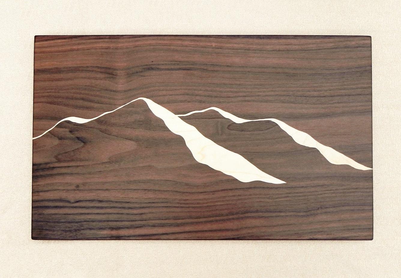 Unique Dark Wood Cutting Board With Mountain Ridge View