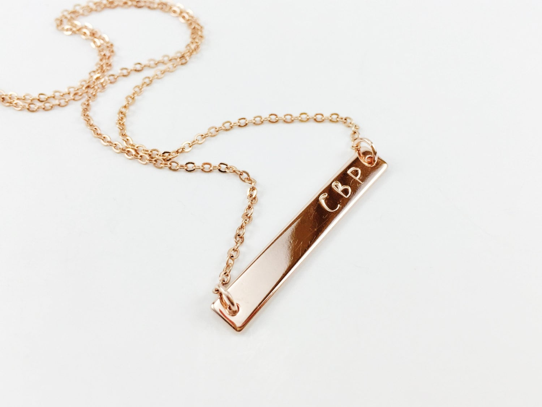 hand stamped rose gold bar necklace name necklace monogram. Black Bedroom Furniture Sets. Home Design Ideas