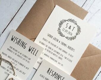 Rustic wedding invitation set, Rustic wedding, Bohemian wedding invitation