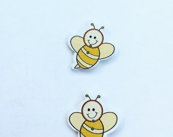 Bumble Bee Button - Craft Scrapbooking Yellow Buttons - Wooden Buttons - Bee Button - 25 mm Buttons - Large Button - Yellow Button Notions