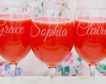 Personalized Wine Glasses Custom Wine Glasses Bridesmaid Gift Bachelorette Party Stemless Wine Glass Wine Lover Personalized Gift
