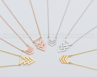 Stacked Triangle Necklace/ Triple, Three Chevron Necklace, Gold,Silver,Rose Gold, Geometric Necklace, Best Friends, Sisters Necklace NBB057
