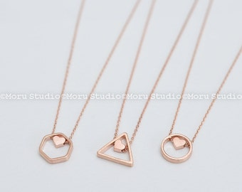 Geometric Honeycomb Necklace with Heart Charm/ Hexagon Necklace/ Triangle Necklace/ Circle Necklace/ Bridesmaid Necklace, Gift Idea NCR105