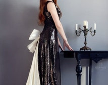 Prom dress. Evening dress. Stage costume in Cabaret style. Sequins dark evening dress. Long dress with plume