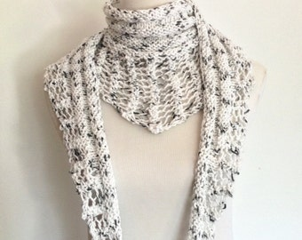 Women's All-Season Scarf in Speckled White Cotton
