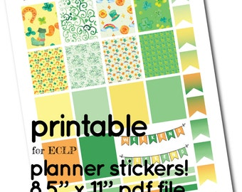 ECLP Printable St Patricks Full Box Stickers - Boxes, Headers and Flags for Planner - green yellow orange, horseshoe shamrock rainbow gold