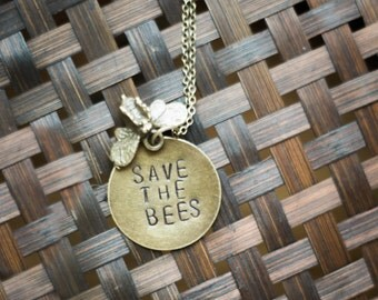 """Handmade Brass Honey Bee Necklace """"Save The Bees"""""""