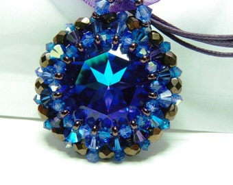 The Caribbean gradient blue Swarovski Crystal pendant beautiful cabochon multi reflections