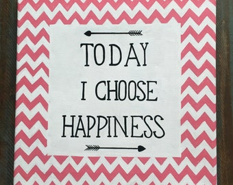 Happiness Chevron Hand Painted Canvas