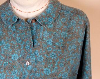 1960s Cotton Print Lady Manhattan Collegiate Peter Pan Collar Blouse Shirt Long Sleeve
