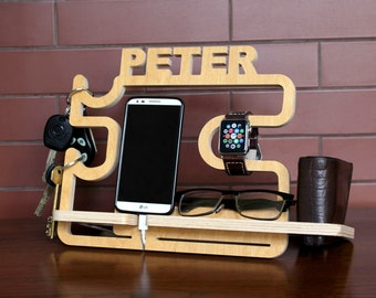 Personalized docking station - Android, iPhone charging stand, gift idea - Mens, boyfriend charging dock