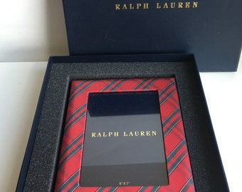 "RESERVED-Ralph Lauren Home Red & Green Tartan Plaid Picture Frame with Box 5"" x 7"""