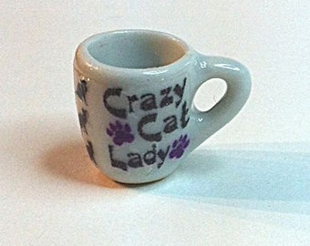 "Miniature ""Crazy Cat Lady"" Coffee Cup"