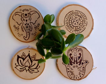 Wood Burned Coasters: 'Bohemian Vibes'