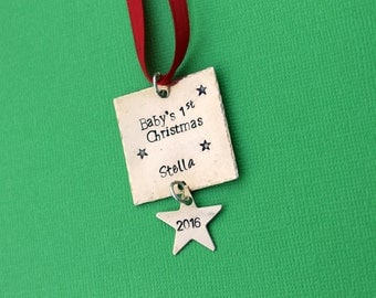 Baby's First Christmas Ornament Stamped Ornament New Baby Ornament Keepsake Ornament Baby's name ornament