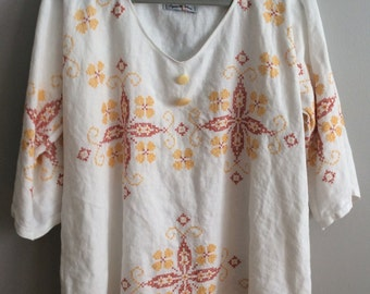 S/M Embroidered Linen Tunic