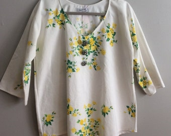 S/M Tunic - Yellow Floral