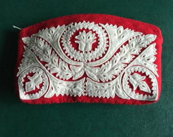Vintage Red Wool Felt Clutch with Intricate White Felt Design