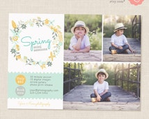 Spring Mini Session Template, Easter Mini Sessions, Marketing Board, Photoshop Template, Photography Marketing Set, PSD, Yellow green floral