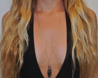 Purple Stone Necklace | Statement Necklace | Gold Wire Wrapped Stone | Long Stone Necklace | Gold Necklace | The Sandy Vine