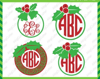 Mistletoe Christmas Circle Monogram Frames SVG DXF PNG eps xmas Cut Files for Cricut Design, Silhouette studio, Sure Cuts A Lot, Makes cut
