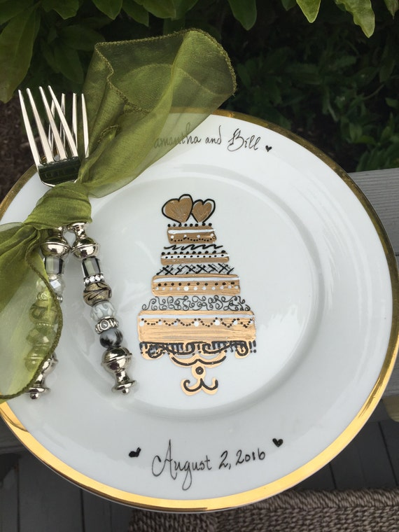 wedding cake plate and forks cake for two personalized wedding cake plate by 23498