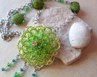 Handmade necklace with Pendant beads and Murano glass beads