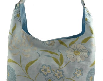 Pale blue floral, Canvas Slouch Bag, Hobo Bag, Purse with Fixed Strap | Sewn By Tanya