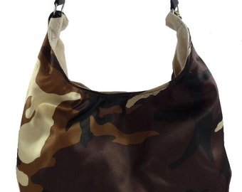 Desert Camo, Slouch Bag, Hobo Bag, Purse with Fixed Strap | Sewn By Tanya