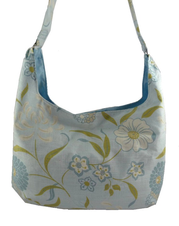 Pale blue floral Canvas Slouch Bag Hobo Bag Purse with