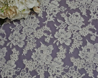 "Ivory Color French Alencon Bridal Wedding Lace Fabric 34"" wide Scalloped borders Sold/priced by 1/2 yard"