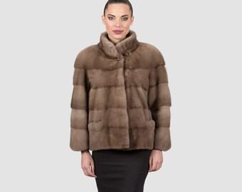 Mink Male Pastel Fur Jacket, Brown Mink Fur, Short Coat, 61cm Long, Finest Pelts, Nerz, Mex, Pockets, Custom Size.