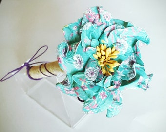 Aqua, Yellow, Purple Spring Wedding Rustic Jute-wrapped Guest Book Handmade Flower Pen ITEM 222