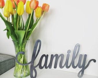Rustic Metal family Script Home Decor