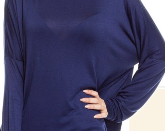 Navy Long Sleeve Round Neck Piko Top W/ Full Front Initials