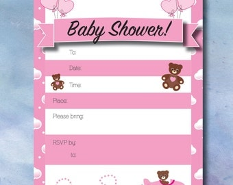 Baby Shower Invitations - Bears in the Clouds
