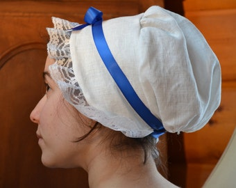 18th Century/Regency Linen Cap With Blue Ribbon