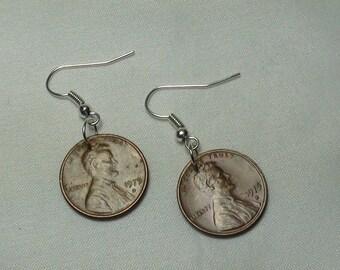 LUCKY PENNY Earrings, Lucky Penny, Dangle Earrings, Vintage Coins, Custom Earrings, Jewelry, Custom Jewelry, lucky, Coin Earrings, 1975