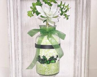 Faux Succulent Vertical Garden, Succulent Planter, Shabby Chic Wall Planter, Artificial Succulent, 3-D Wall Art, Succulent Gift