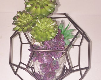 Geometric Terrarium,  Faux Succulent Planter, Geometric Planter, Succulent Terrarium, Modern Arrangement, Succulent Gift