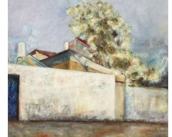 oil paintings, oil on canvas, original colorful, urban landscape,Jerusalem, wall art décor, street,  painting oil, peaceful, roofs, trees