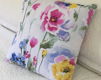 "Watercolour Floral on White Background - Cushion Cover 45 x 45cm (18"" x 18"") Fresh for Spring Summer"