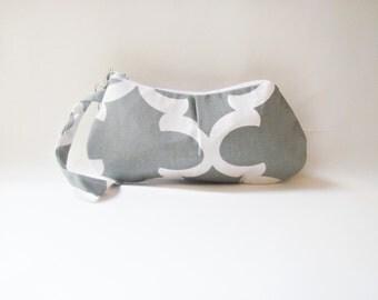 Pleated Grey Zippered Pouch. Wristlet Purse.Clutch.Zipper Pouch.Wristlet Purse.Handbag-White and Grey Fynn Bag