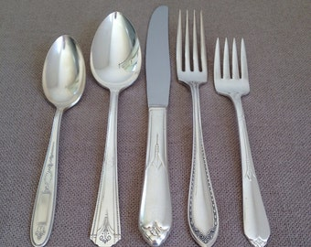 Vintage Mismatched Flatware,Five (5) Piece Place Setting,Antique Silver Plate,Silverware,Mixed Patterns,Wedding,Tea Party,Rediscovered