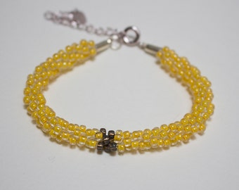 Bracelet kumihimo beaded yellow and grey/bronze